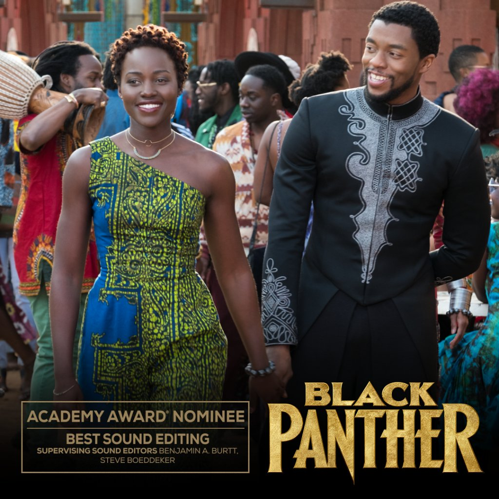 Congratulations to Marvel Studios' #BlackPanther on its Academy Awards nomination for Sound Editing! #OscarNoms