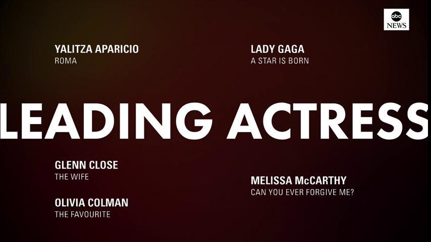 JUST IN: 2019 #OscarNoms for Best Leading Actress: https://t.co/WLj4H9lC0u  Yalitza Aparicio, 'Roma' Glenn Close, 'The Wife' Olivia Colman, 'The Favourite' Lady Gage, 'A Star Is Born' Melissa McCarthy, 'Can You Ever Forgive Me?'