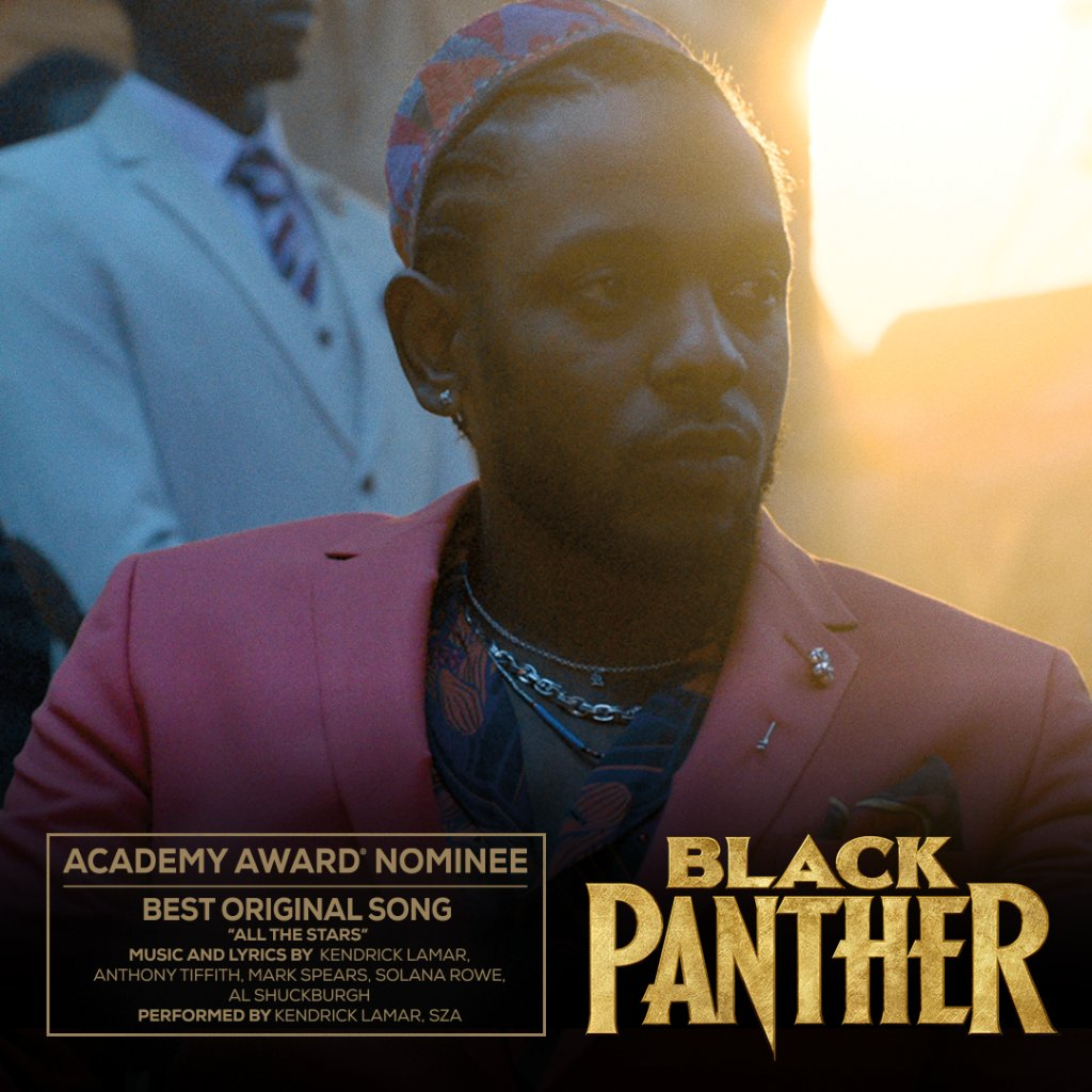 Congratulations to #BlackPanther on its Academy Awards nomination for Best Original Song, 'All The Stars'! #OscarNoms