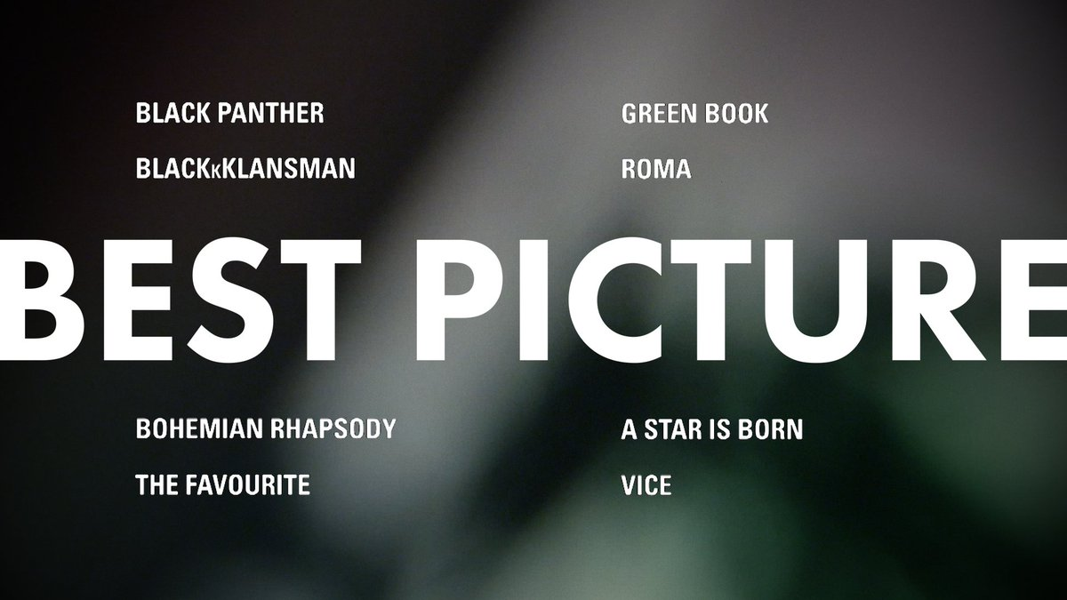This year's Best Picture #OscarNoms  #BlackPanther (97%) #BlacKkKlansman (95%) #BohemianRhapsody (62%) #TheFavourite (93%) #GreenBook (82%) #Roma (96%) #AStarIsBorn (90%) #ViceMovie (64%)