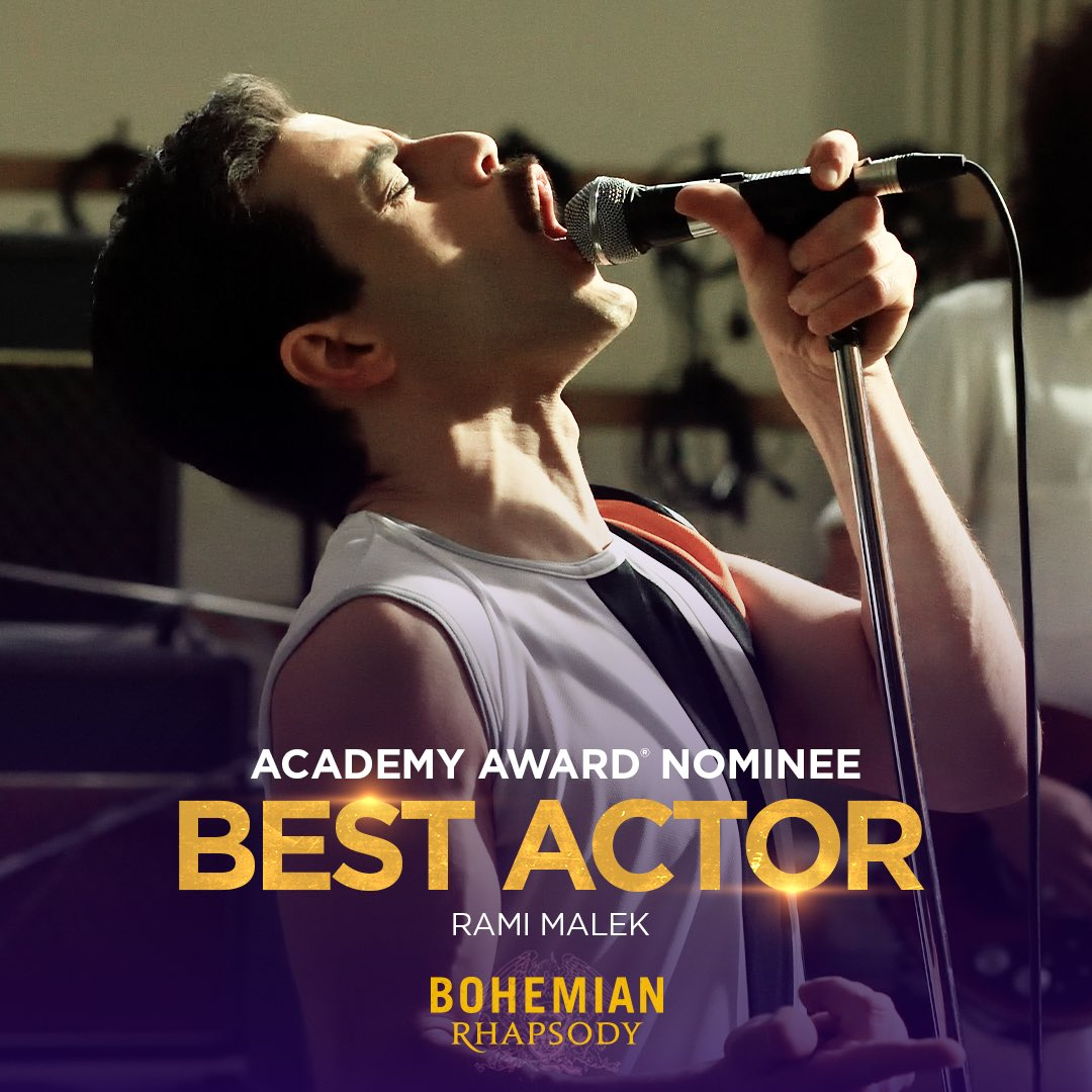 A huge congratulations to @ItsRamiMalek for his amazing performance! #BohemianRhapsody has been nominated for the @TheAcademy Award for Best Actor in a Leading Role. #OscarNoms