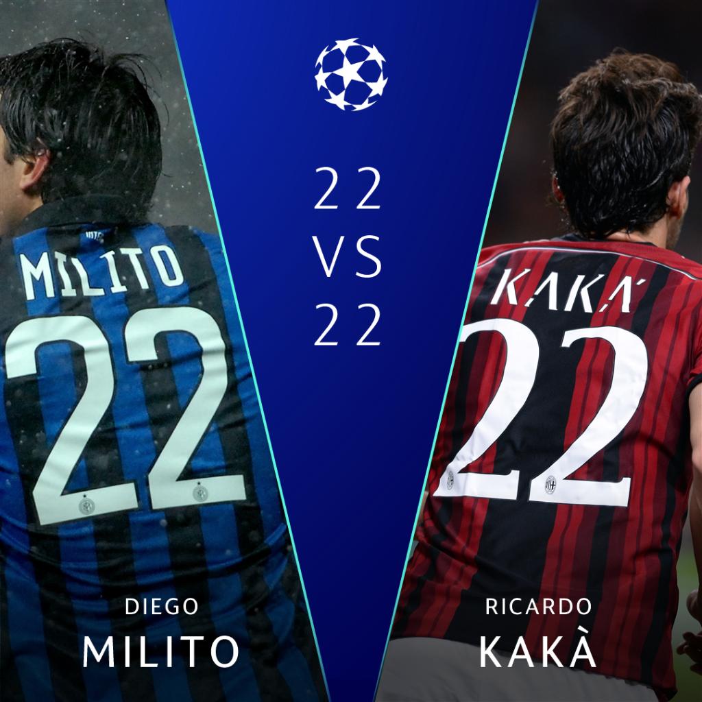 Oggi è il 2⃣2⃣ gennaio 2⃣0⃣1⃣9⃣ ⚫🔵 Un numero magico per @Inter e @acmilan 🔴⚫ 🤔 Tu quale 2⃣2⃣ preferisci❓  🔁 #Milito ❤  @KAKA