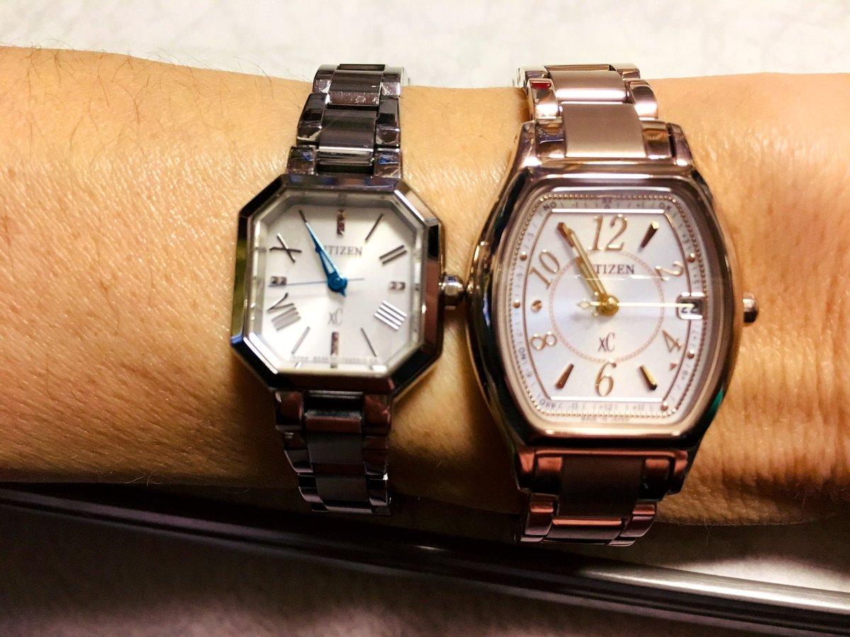 時計を買った。何年ぶりだろう。 また頑張ろ〜    旧     と     新 🐝 #xc #クロスシー #citizen #シチズン  #サクラピンク #トノー型