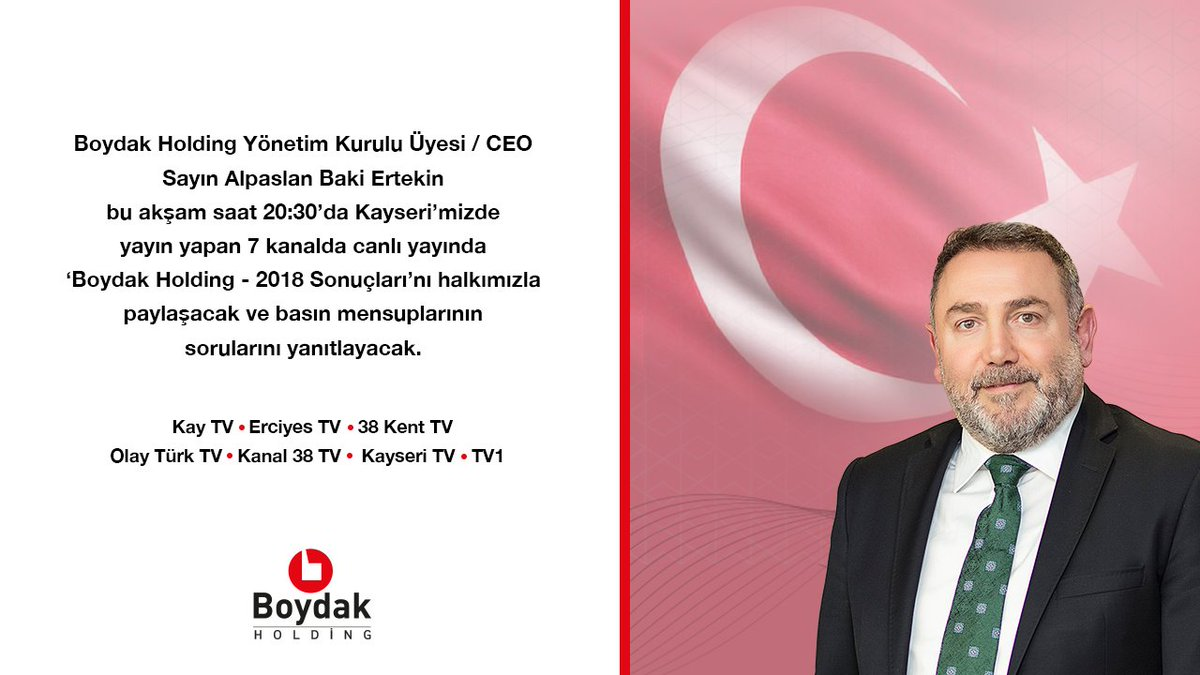 Boydak Holding Yönetim Kurulu Üyesi / CEO @AB_Ertekin, şirketler grubu hakkında merak edilen soruları cevaplamak üzere saat 20:30'da canlı yayında sizlerle buluşacak.