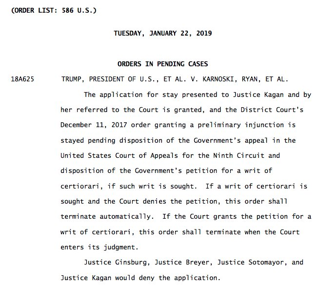 BREAKING #SCOTUS:  issues a stay of injunctions against Trump's transgender service ban, allowing the Trump administration to begin enforcing its ban while the case proceeds.