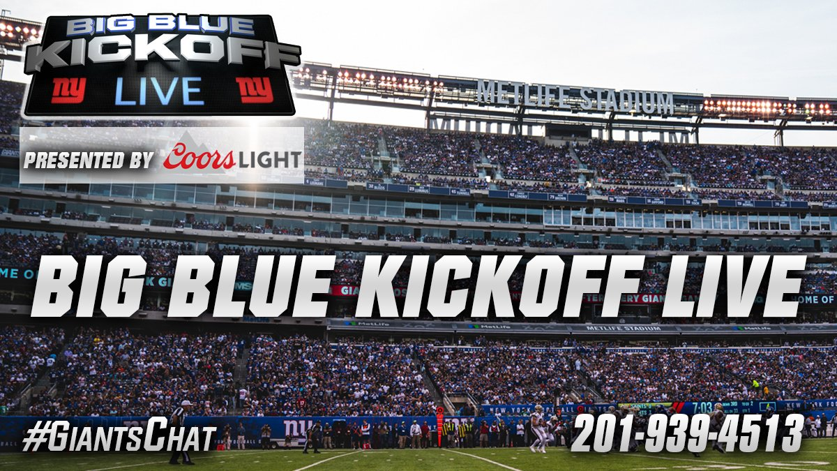 Tuesday's Big Blue Kickoff Live presented by @CoorsLight airs at 12PM on https://t.co/nqQR65MHbU and Giants App. #GiantsChat
