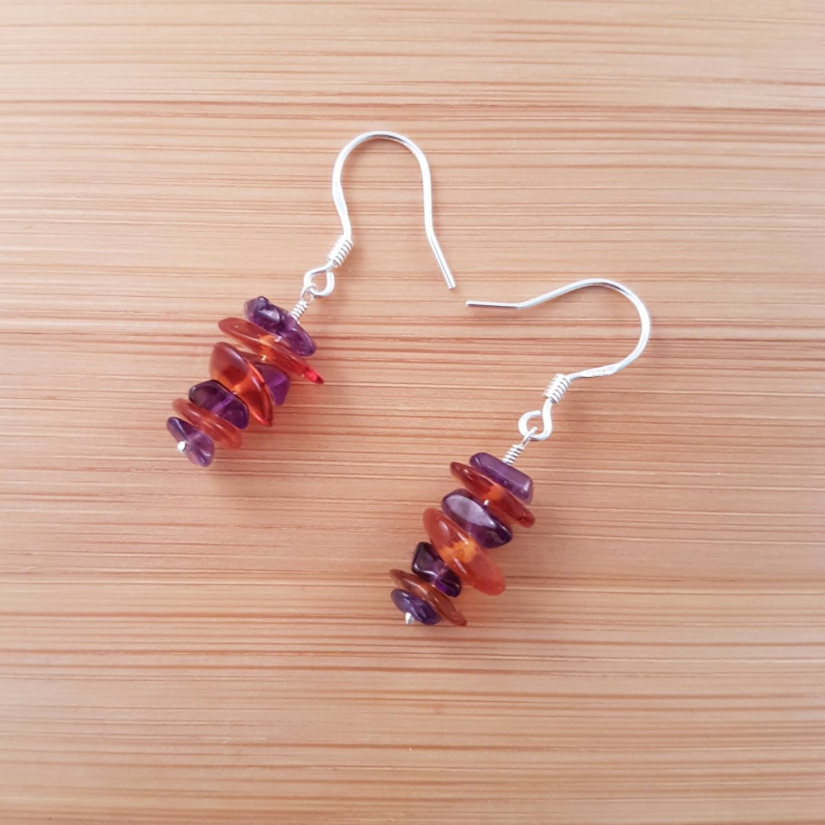 Mixed amethyst and amber chip earrings