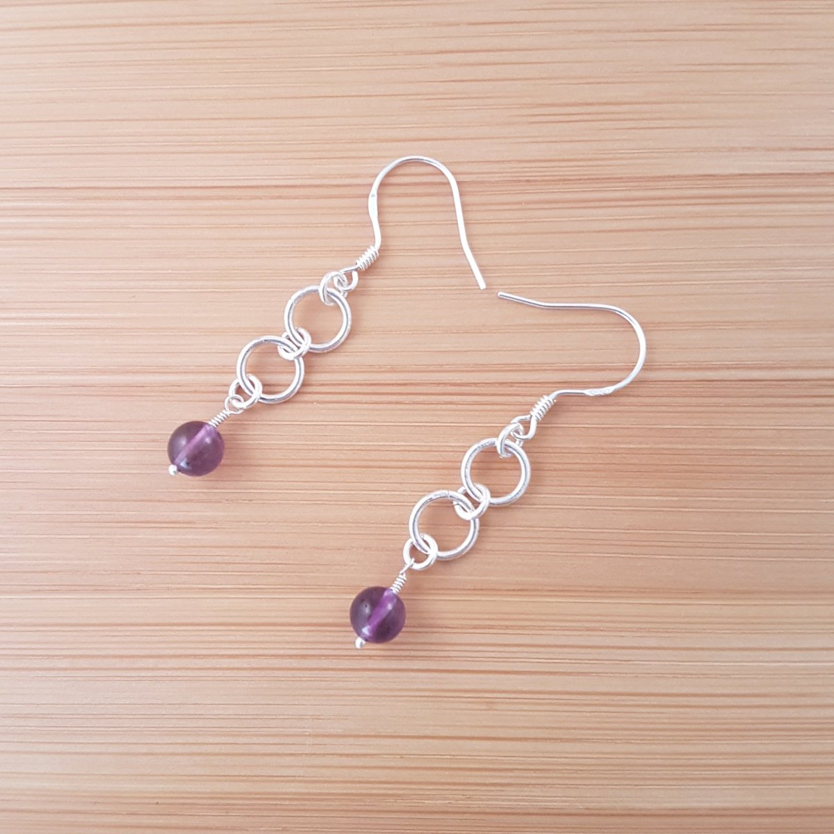 Amethyst and silver ring earrings