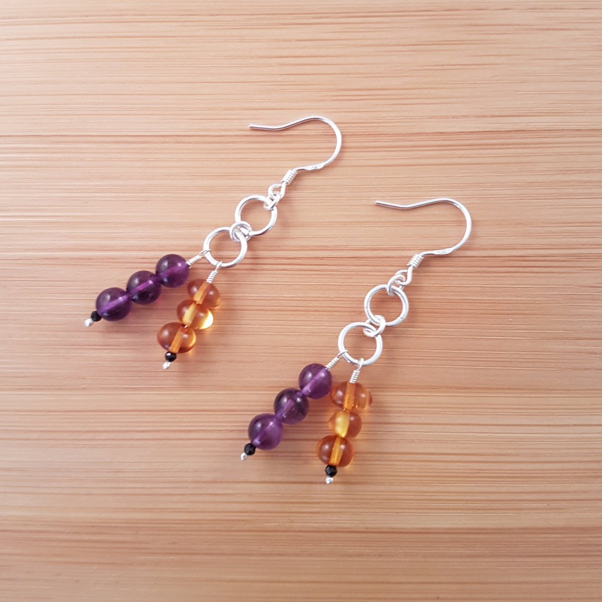 Amethyst and amber earrings