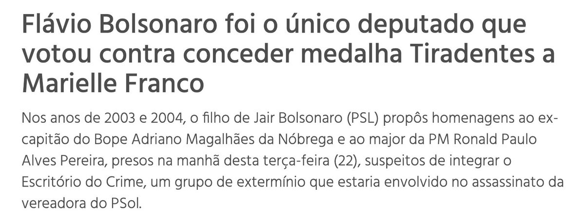 Flávio Bolsonaro foi o ÚNICO deputado q votou CONTRA dar a medalha Tiradentes para Marielle Franco.  O msm Flávio homenageou os criminosos do Escritório do Crime, grupo de extermínio suspeito de matá-la. Além de empregar mãe e esposa do líder.    #FlavioBolsonaroNaCadeia