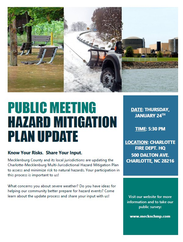 Charlotte Mecklenburg Emergency Management On Twitter Cmemo Will Be Hosting A Public Meeting To Discuss The Process Of Updating The Mecklenburg County Multi Jurisdictional Hazard Mitigation Plan On Thurs Jan 24 At 5 30pm At