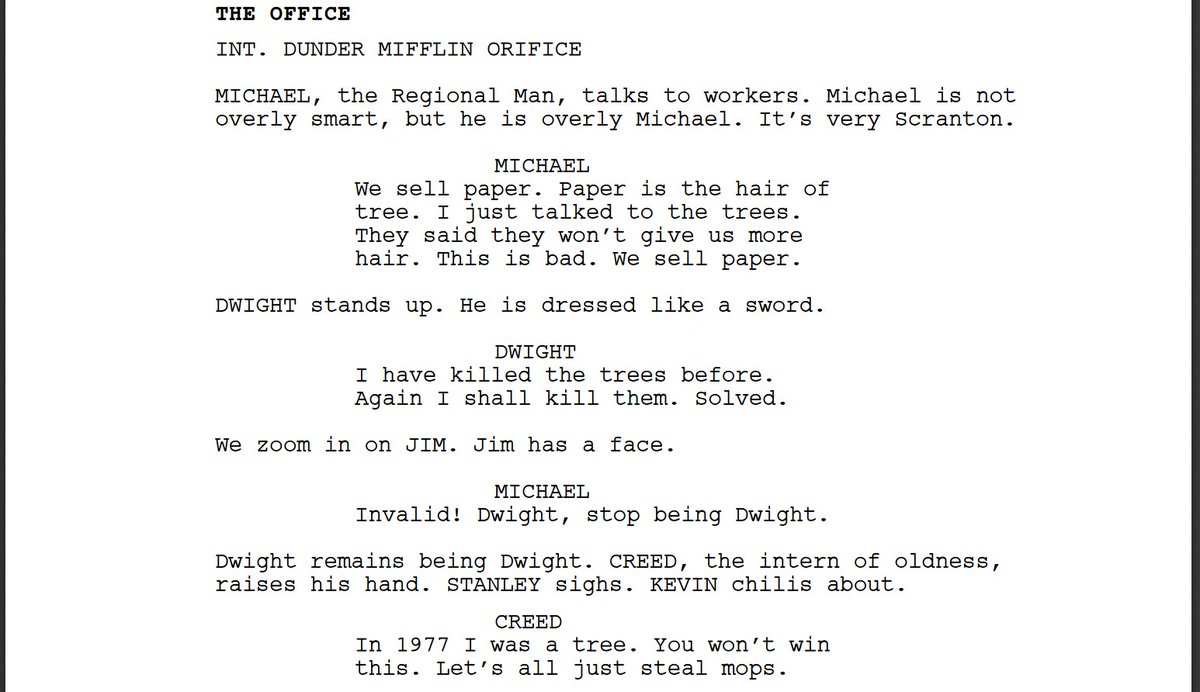 I forced a bot to watch over 1,000 hours of The Office episodes and then asked it to write a The Office episode of its own. Here is the first page.