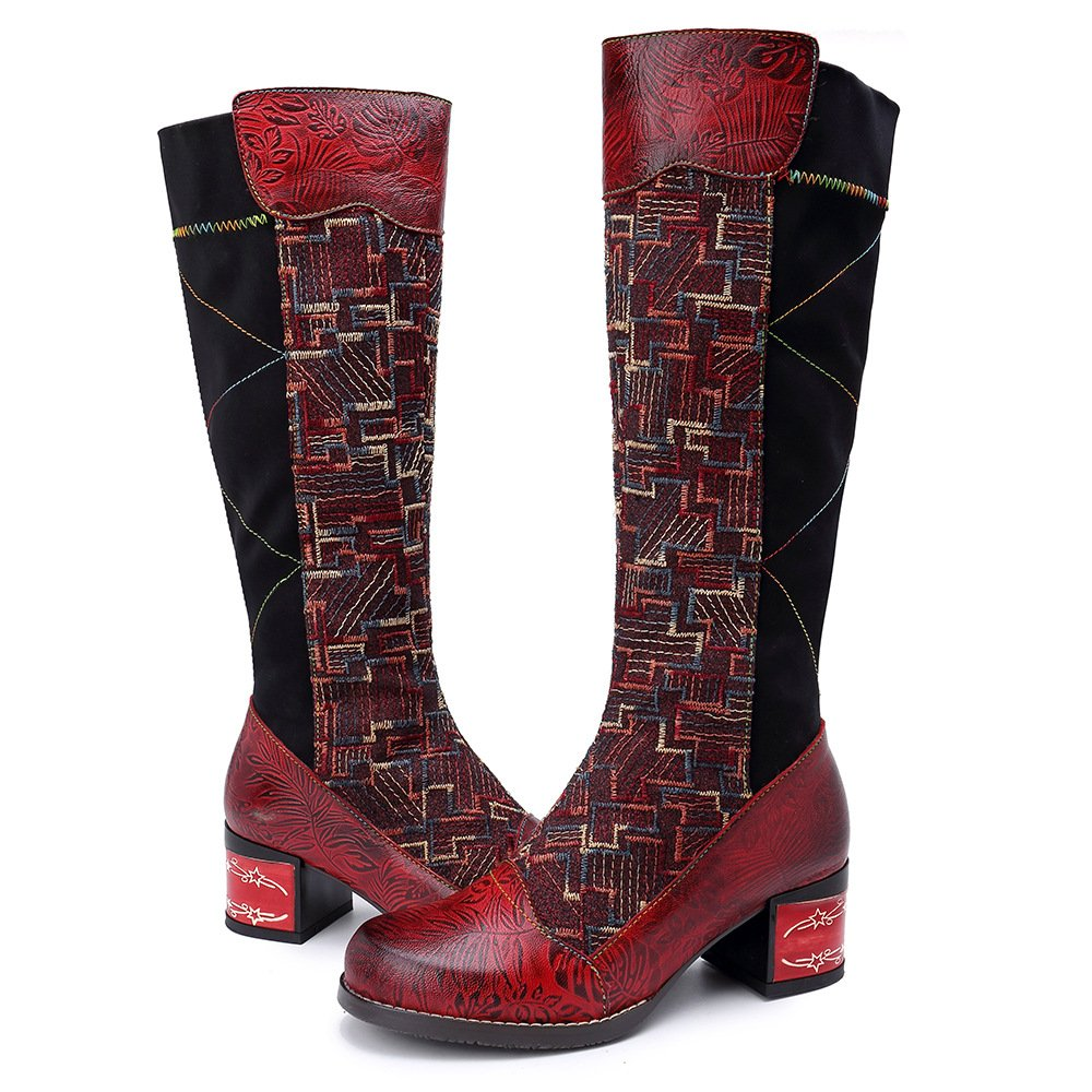 SOCOFY Women s Handmade Leather   Stretch Fabric Boho Boots  Embossed 1c890456f7a