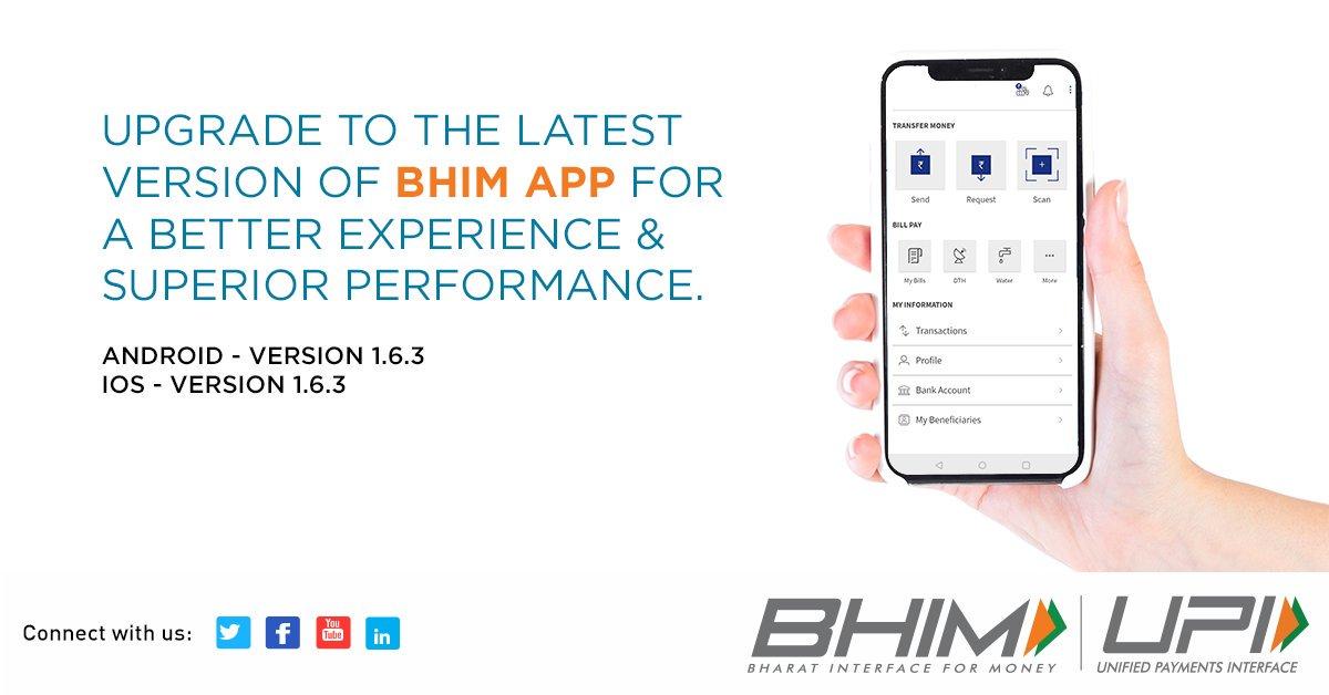 Update your BHIM APP to version 1.6.3 and enjoy enhanced performance. #BHIMUPI #AppUpgrade