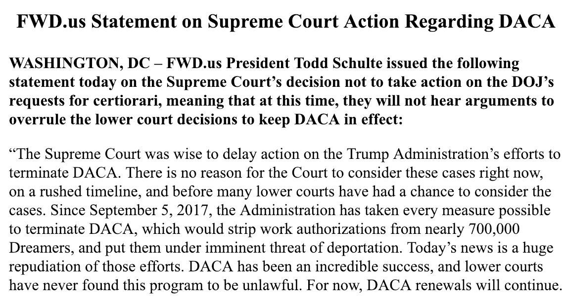 https://t.co/BrUfJRWK3K Statement on Supreme Court Action Regarding DACA https://t.co/wFuLwTKm1R