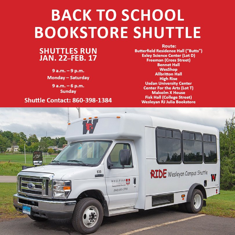 test Twitter Media - Need a ride to @wesrjjulia ? Avoid the cold weather and take the campus shuttle!  🚐  This semester shuttles will run through February 17, Monday - Saturday, 9 am – 9 pm and Sunday, 9 am – 6 pm. https://t.co/uIjRCHXLOo
