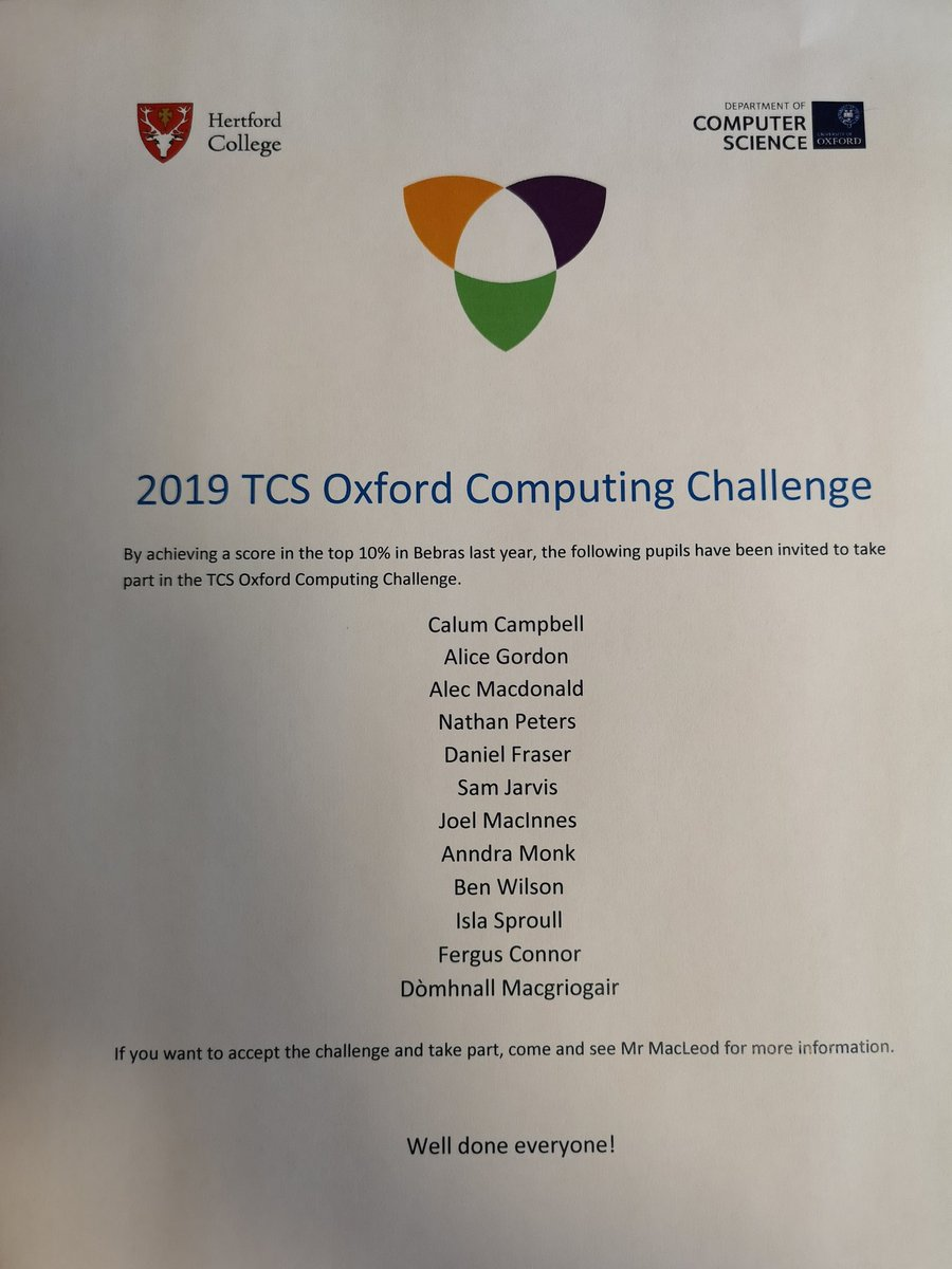 After excellent scores in the @bebrasuk Challenge, some @GaelicSchool pupils have been invited to take part in the @TCS Oxford Computing Challenge! Well done 👍 If you want to take up the Challenge come and see Mr MacLeod. @SGGTeicneolasan #computationalthinking #soirbheachas