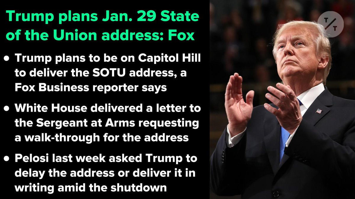 Pelosi suggested Trump postpone his SOTU address or deliver it in writing until the shutdown ends, but the president is planning to be on Capitol Hill on Jan. 29, Fox reports