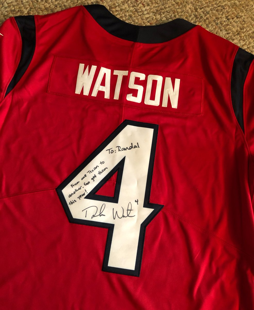 Love my new jersey! Can't wait to have it framed and get it up on the wall. Thanks @deshaunwatson, GO TEXANS!