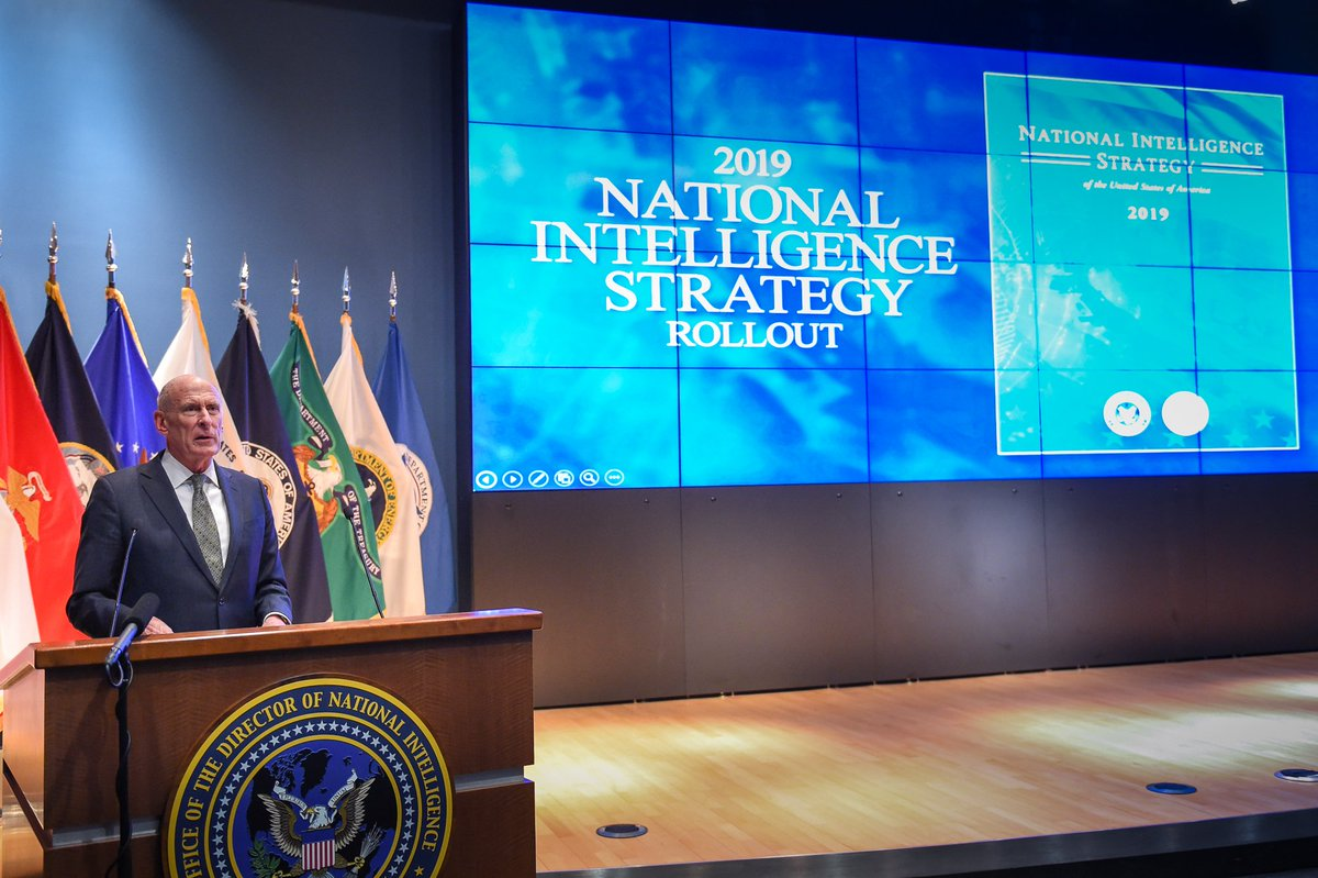 DNI Coats Unveils the 2019 National Intelligence Strategy.  Read the press release: https://www.dni.gov/index.php/newsroom/press-releases/item/1941-strategy-promotes-integration-innovation-partnerships-and-transparency-for-the-17-intelligence-elements … #NIS2019