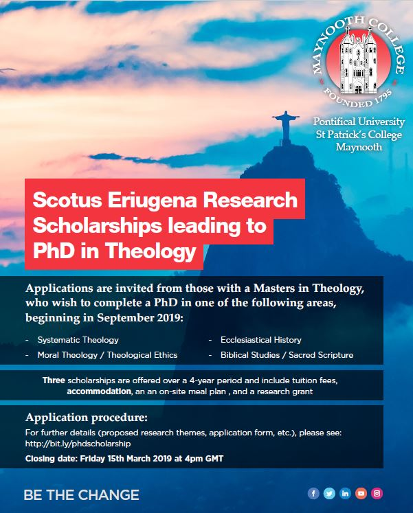 The Scotus Eriugena Scholarship for 2019 has just been announced. For application guidelines and the application form, please see our website: https://lnkd.in/gPpXB8N . For any questions, please contact us on admissions@spcm.ie   #theology #research #phdchat #phdstudent