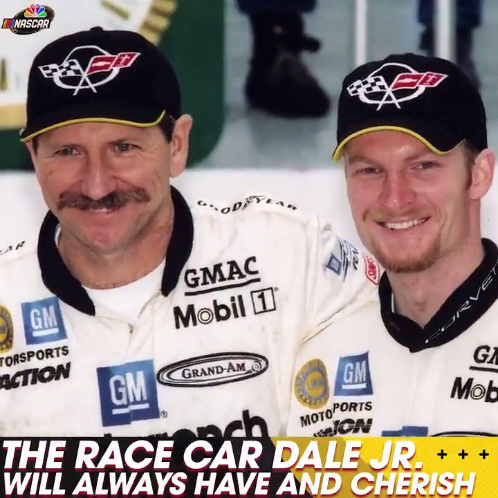 """""""I didn't know dad was going to be taken from us.""""  @DaleJr recalled when he and his dad, Dale Earnhardt Sr., raced together in the 2001 #Rolex24, and why he kept the car in Pt. 1 of this week's podcast: http://ApplePodcasts.com/NASCARonNBC"""