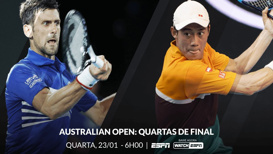 Hoje, não perca as quartas de final do Australian Open, a partir das 6h, AO VIVO, na ESPN e no WatchESPN.  📺: 🇷🇸 Novak Djokovic x Kei Nishikori 🇯🇵  #AustralianOpenNaESPN