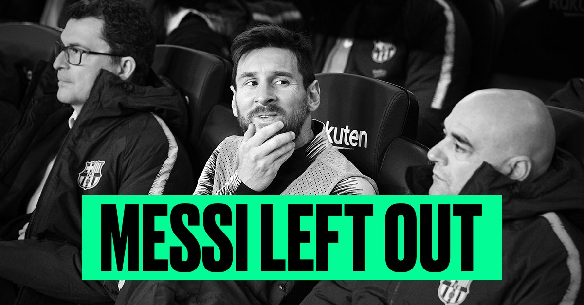 OFFICIAL: Lionel Messi has been left out of Barcelona's squad to play Sevilla in the Copa del Rey on Wednesday
