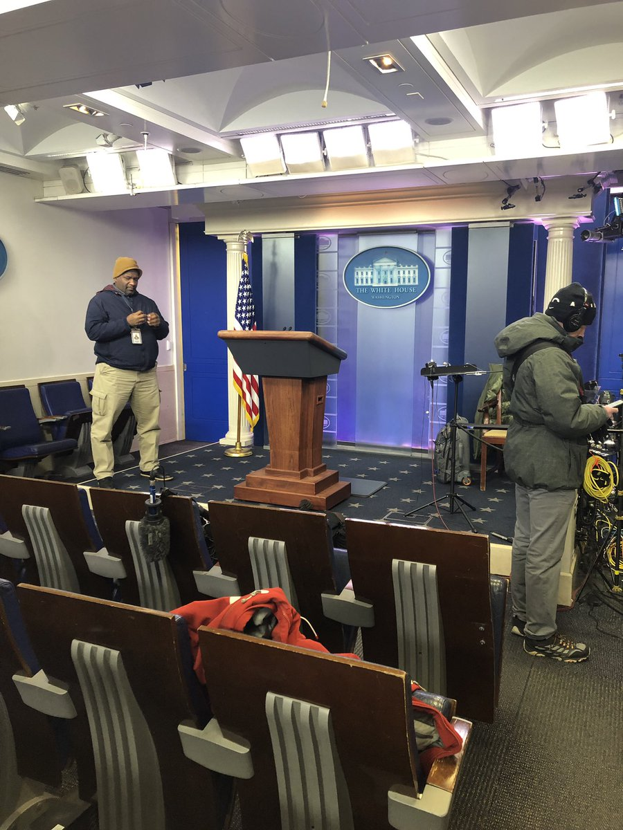 The last WH briefing was more than a month ago, before the  shutdown began. Sanders has not taken one question from the podium about a shutdown that has impacted millions of Americans. We have to catch her in the driveway after her hits on Fox. So the briefing room sits empty.