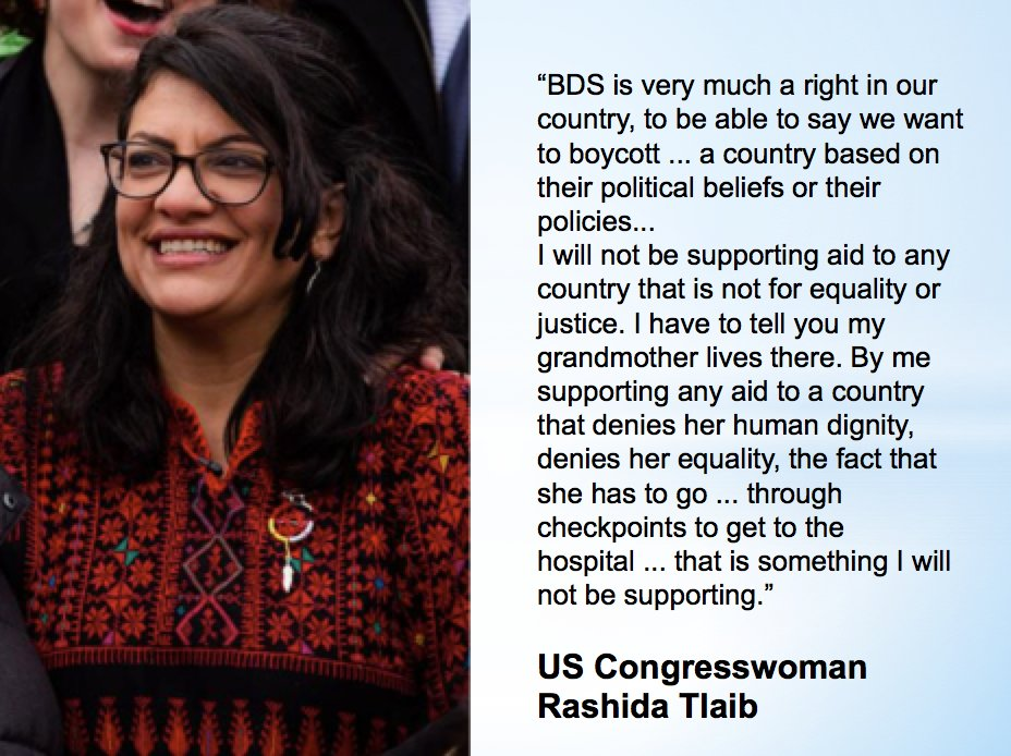 New U.S. Congresswoman @RashidaTlaib says that #BDS is a right, and she won't support U.S. aid to Israel.  Read more: https://theintercept.com/2019/01/17/when-do-we-impeach-the-motherfucker-with-rashida-tlaib/ …