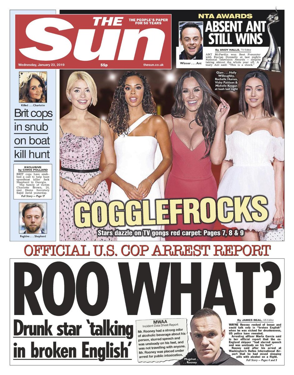 Tomorrow's front page: Wayne Rooney reeked of booze and could only talk in 'broken English' when he was nicked for drunkenness, US police have revealed.   https://t.co/wKjZDRxIH3
