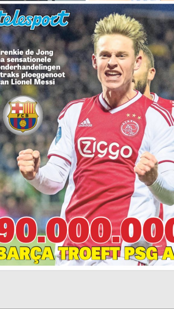 BIZARRE PLOTWENDING: #Barcelona troeft #PSG in zicht van finish af in strijd om Frenkie de Jong. Duurste Nederlandse speler ooit: 90 MILJOEN EURO. Vandaag alle details in @telegraaf https://www.telegraaf.nl/sport/3056898/barca-betaalt-90-miljoen-voor-frenkie-de-jong?utm_source=twitter&utm_medium=social&utm_campaign=seeding-telesport…