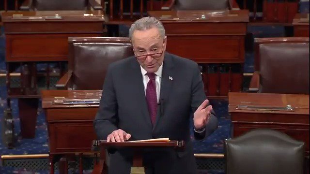 The Senate will have a chance Thursday to vote on 2 bills:  1. @realDonaldTrump's plan. Not reasonable. Not a compromise. Never intended to pass. It's merely an attempt to save face.  2. A clean bill to re-open government & provide disaster aid.  Will @SenateGOP finally join us?