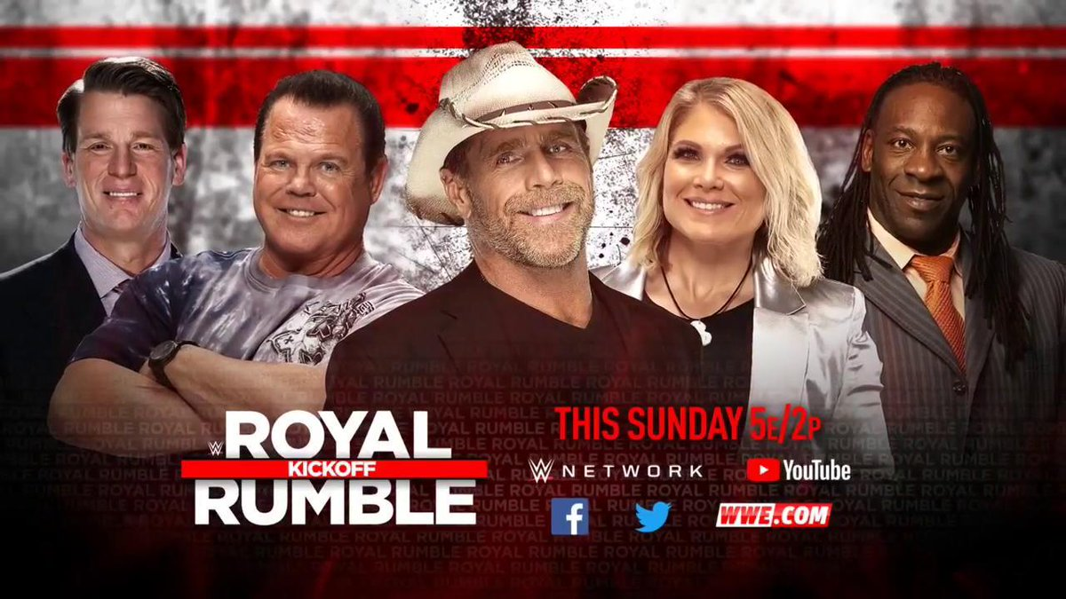 How's THIS for a #RoyalRumble #KickOff Team! #SDLive @ShawnMichaels @BookerT5x @JerryLawler @TheBethPhoenix @JCLayfield