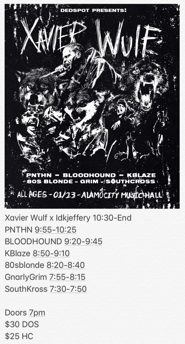 Don't miss this today! @XavierWulf x Idontknowjeffery Live at @alamocitymusic  Tickets available online at https://events.loop-1.com/Events/39754/xavier-wulf-live-in-san-antonio…