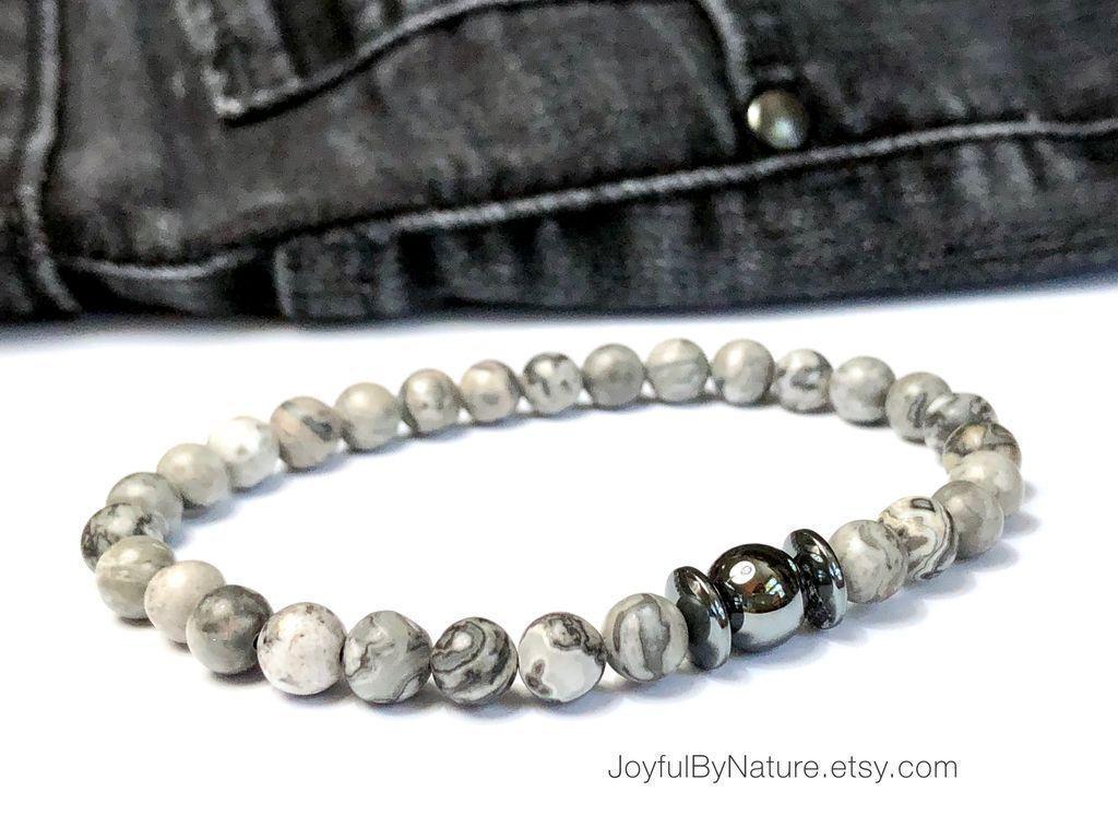 Map stone and hematite bracelet
