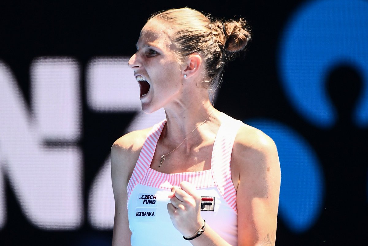 💪💪💪 She's done it!  @KaPliskova saves four match points en route to a 6-4 4-6 7-5 victory over #Serena Williams. She's into the final 4!  #GameSetMatch #AusOpen