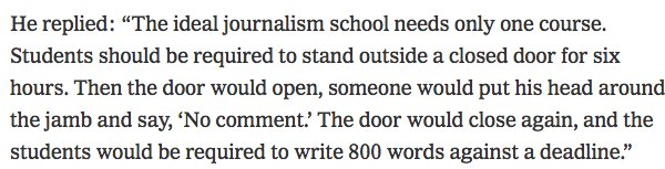 Russell Baker on what journalism schools should teach: