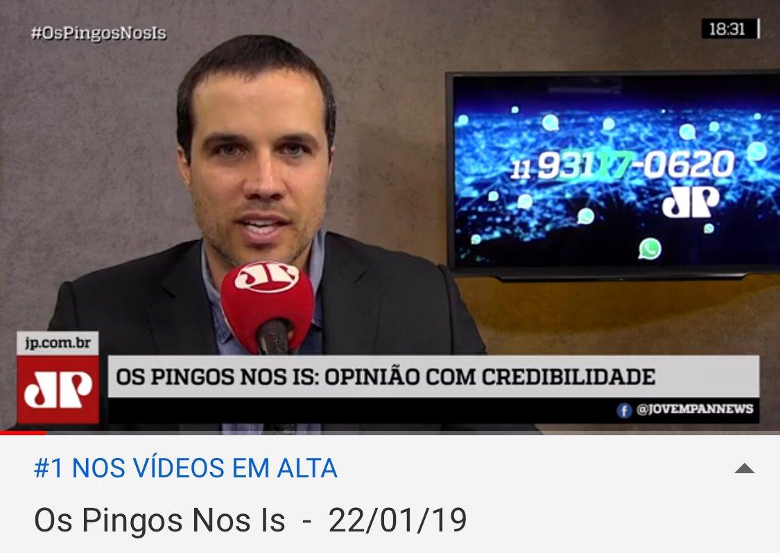 #OsPingosNosIs em primeiro lugar nos Vídeos Em Alta do YouTube no Brasil - um programa jornalístico superando humor, novela, música, futebol e outros produtos de entretenimento e notícia. Obrigado, em nome da equipe, pela audiência. É bom estar de volta das férias.