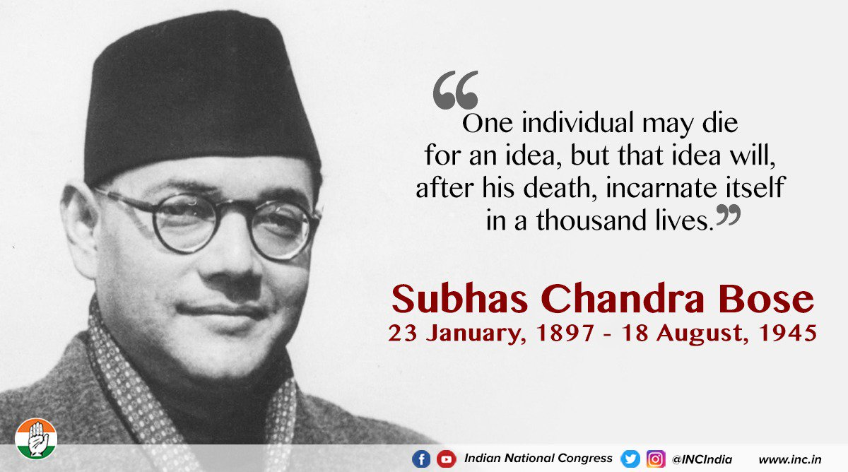 #NetajiSubhasChandraBose was a true nationalist, a defiant patriot and one of India's greatest freedom fighters. He will always be remembered for his role in building the Indian National Army & serving the Congress party as one its strongest presidents.  #JaiHind