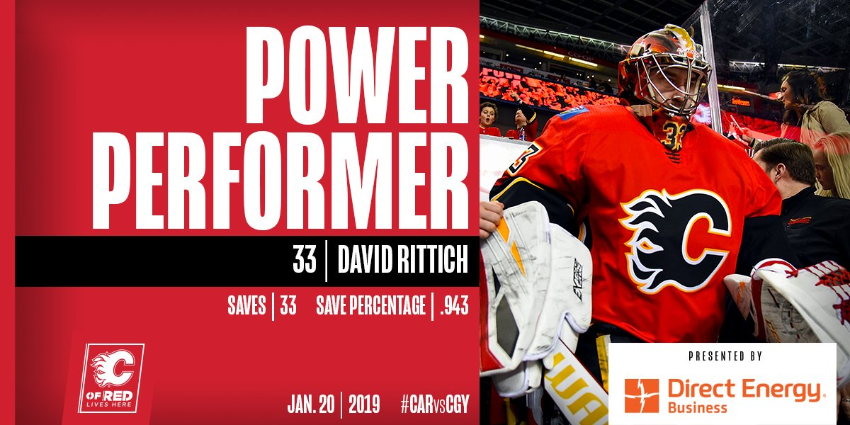 Big Save Dave came up big again ... he's our @DEBusiness Power Performer!  #CARvsCGY | #Flames