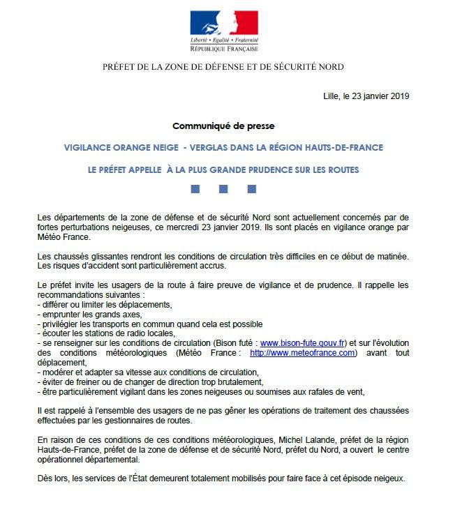 ❄️ #VigilanceOrange #Neige dans la région #HautsdeFrance : Le préfet appelle à la plus grande prudence sur les #routes. Pour plus d'informations 👉🏻https://t.co/SA2Xpm5nVw