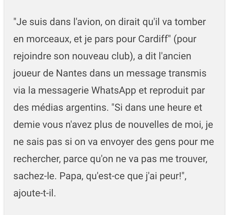 Retranscription partielle du message vocal du joueur @EmilianoSala1 avant de s'envoler vers @CardiffCityFC via @LeHuffPost