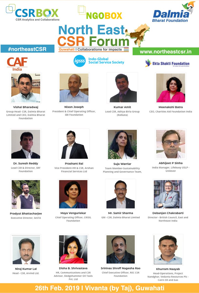 Glad to announce the 1st list of speakers and panelists for  the 'North East CSR Forum 2019' in #Guwahati on 26th Feb. Lets bring the north-eastern India at the centre of development dialogue and collaborations. http://northeastcsr.in/ #CSR #NorthEast @csrboxorg