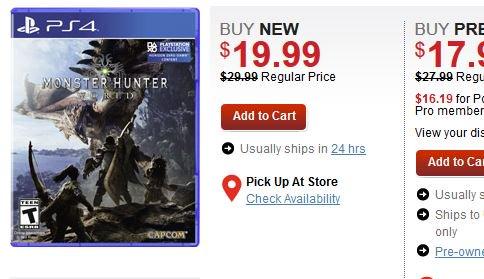 Monster Hunter: World (PS4/X1) $19.99 via GameStop. http://ow.ly/O98p30npNR8