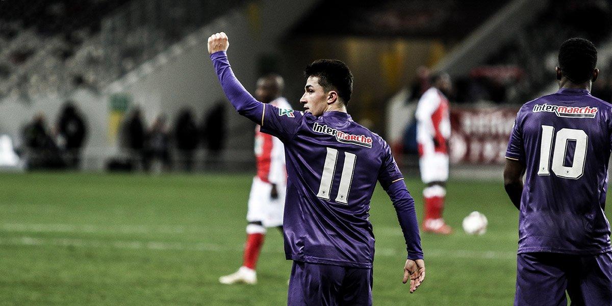 Manu García celebra su tanto contra el Reims en la Coupe de France (Foto: TFC).