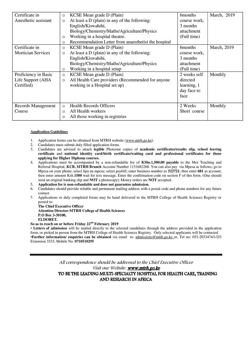 2019 Training/ Admission vacancies at the Moi Teaching and