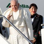 Image for the Tweet beginning: #PopeFrancis departs from Rome's Fiumicino