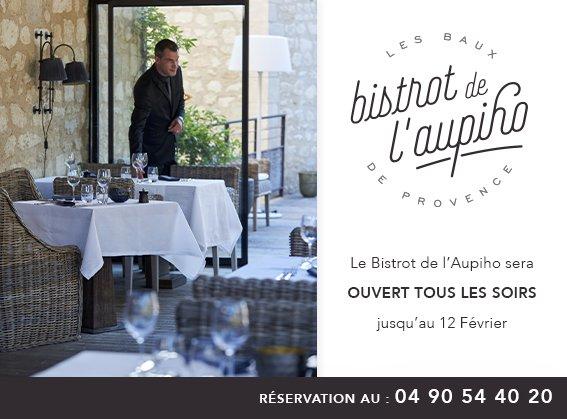 Le Bistrot de l'Aupiho vous accueille tous les jours pour le déjeuner, ainsi que tous les soirs autour de suggestions du chef, jusqu'au 12 Février.