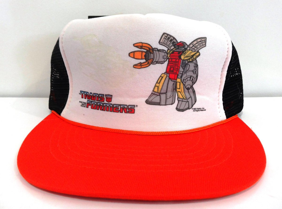 Omega Supreme snapback cap variants - glow in the dark, trucker style (all mesh back) and baseball. Made in either Taiwan or Korea depending on cap style, Hasbro Licensee was Universal Industries Inc 1985/1986 #transformers #g1 #caps #omegasupreme